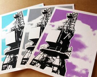 Cargo Crane, Bristol, Architecture Print, Industrial, Screenprint, A4 Screenprint, Home Decor, Print, Silkscreen, Gift, Handprinted,Halftone