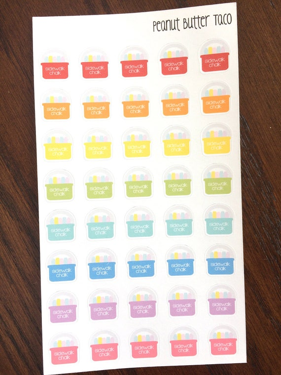 Children S Calendar With Stickers : Sidewalk chalk planner stickers children kid
