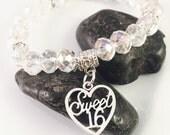 SALE Sweet 16 Charm Bracelet,Sweet 16 Bead Bracelet, beaded jewelry, Sweet Sixteen charm bracelets, faceted beads, AB Crystals,