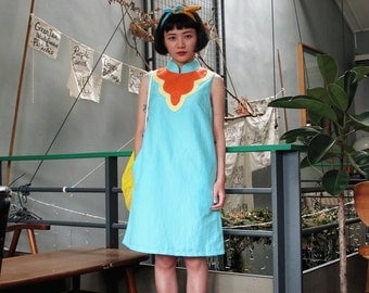 Bib Modern Qipao Dress Cyan Orange Yellow, Modern Cheongsam Dress