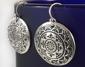 Round Dangle Earrings with Mandala Design | Silver Mandala Earrings | Mandala Boho Jewelry | Silver Clay Boho Earrings | Metal Clay Jewelry