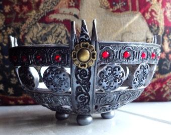Celtic style bowl, polymer clay bowl, silver bowl, trinket bowl, jewellery dish