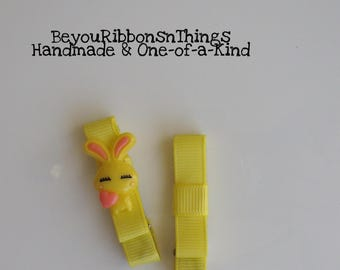 Yellow Bunny Hair Clips for Girls Toddler Barrette Kids Hair Accessories Grosgrain Ribbon No Slip Grip Easter