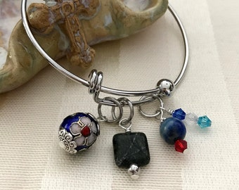 Adjustable Wire Bangle Charm Bracelet with Cloisanne Flower Bead,  Round Lapis Lazuli & Square Green Jasper Gemstones and Swarovski Crystals