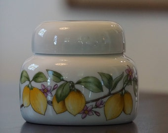 Rouschert Porzellan/ Vintage Lemon Porcelain Box/ West German Jam Marmalade Jar/Small Ginger Jar