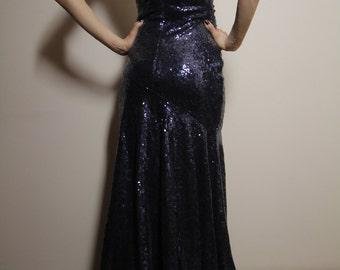 Prom Sequin Maxi Dress Navy Blue Eu36