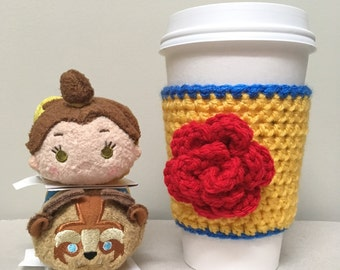 Beauty and the Beast Cup Cozy, Rose Cup Cozy, Crochet Cozy, Disney Coffee Cozy