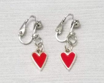 Red Heart Clip On Earrings Silver Dangle Clip On Earrings Red Heart Earrings Silver Heart Earrings Clip-On Earrings for Girl Heart Earrings