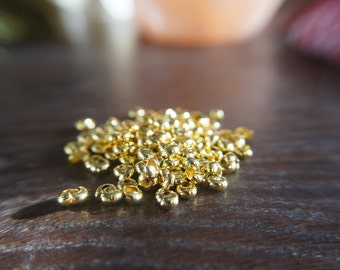 4mm Gold Plated crimp beads cover - Pack of 140