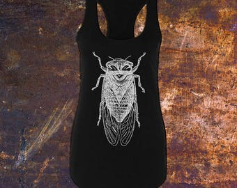 CICADA - Women's Black Racerback Tank Top // Woodland Theme // Made in USA // Super Soft // Insect Lovers (Sizes Available: XS-2XL)