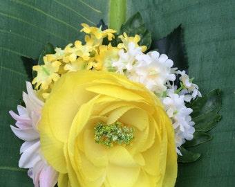 Vibrant Yellow Peony & White Daisy Hair Flower