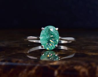 Genuine Emerald Ring, 14k Gold Solitaire, Green Emerald, Oval Ring, Unique, Silver Emerald, Natural Ring, New Ring, Best Mothers Day Gifts