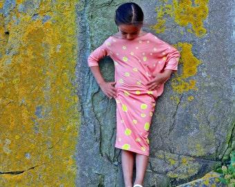 One shoulder long dress for girls/Toddler girl cape sleeve dress/Kids bodycon dress/Dots printed dress/Summer dress outfit/Summer outwear