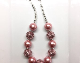 Dusty Rose Pink Holiday Birthday Flower Girl Chunky Beaded Bubblegum Necklace