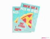 You've Got a Pizza My Heart, Valentine Pizza Cards, Personalized, Valentine Cards, School Gift, Classmate Gift tags, Party Favor