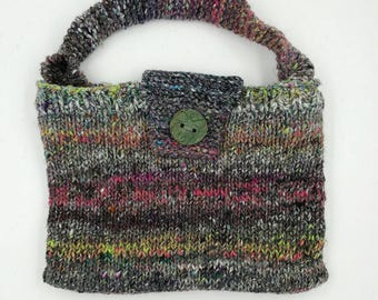 Hand Knit Bag, Hand Knit Purse, Hand Knit Handbag, Lined Bag, Lined Purse, Lined Handbag, Handle Purse, Noro Bag, Noro Purse,  Bag for Women