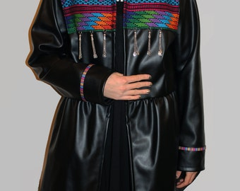 Women's Leather Jacket - Ethnic - Vintage - Embroidered