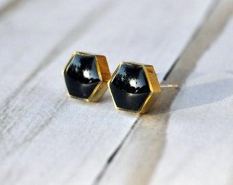 Small Hexagon Brass Stud Earrings, geometric earrings, clay and brass earrings, gold earrings, stud earrings