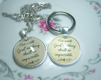 Luke 1:37 Bible Verse Necklace, Christian Jewelry, Christian Gift, Bible Pendant Necklace, Scripture Jewelry, Inspirational Jewelry, Quote