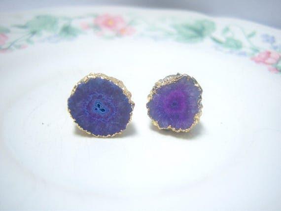 Gold Plated Freeform Solar Slice Stud Earrings Dyed Purple