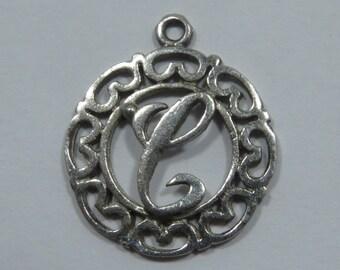 Letter C Initial Sterling Silver Charm for Bracelet or Pendant