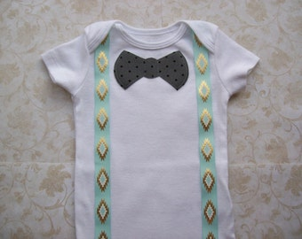 Baby boy clothes,Preemie,Newborn take  home onesie,Grey Gray,Turquiose blue suspenders,Trible,Pow wow,Infant,Easter Modern polka dot bow tie