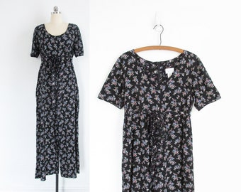 vintage floral jumpsuit, 90s wide leg romper with empire waist - womens s / m