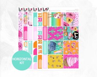 Fiesta Horizontal Kit - Matte Glossy Erin Condren Horizontal Planner Stickers -