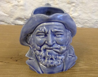 Vintage Blue Glazed Fisherman / Seaman Character Toby Jug. In Good Used Condition.