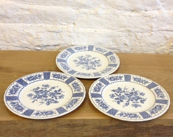 Vintage Set of 3 Blue and White Melody by Myott - 10 inch Dinner Plates Lovely design in Very Good Condition.