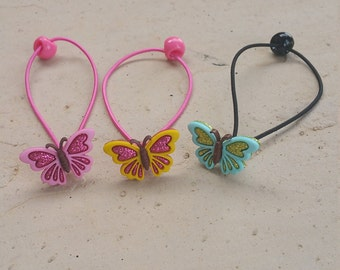 Glitter Butterfly Ponytail Holders , Hair Ties for Girls, Girls Hair Accessory , Toddler Hair Clips - Hair Ties