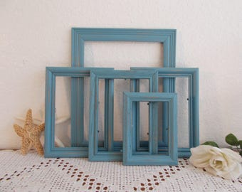 Blue Picture Frame Set Photo Decoration Upcycled Vintage Wood Rustic Shabby Chic Distressed Beach Cottage Coastal Seaside Island Home Decor