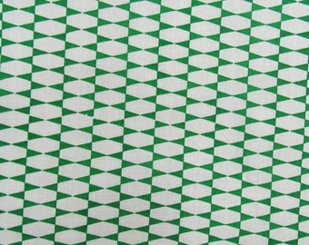"""Green Geometric Printed Cotton Fabric, Dressmaking Fabric, Home Decor, Sewing Fabric, White Fabric, 40"""" Inch Fabric By The Yard ZBC7363A"""