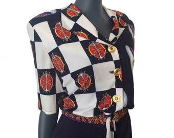 Vintage 80s 90s Navy Blue White Nautical Baroque Anchor Sailor Print Shirt Dress 12 14