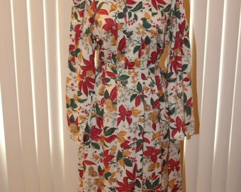 Vintage 1980s Inner Visions by Ship n' Shore Floral Fall Paneled Front Matching Shirt and Skirt Set