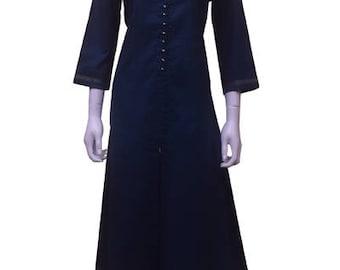 Women's Cotton A-line formal wear Kurti (Kurta)-Navy Blue