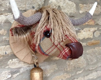 Handmade tweed highland cow faux taxidermy brown and red checked highland tweed fabric wall mounted animal head trophy