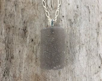 Sterling Silver Genuine Surf Tumbled Grey Sea Glass Pendant Necklace