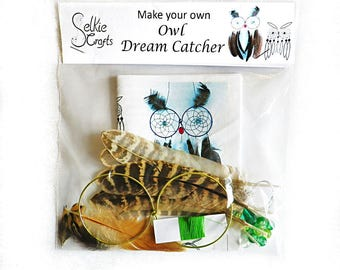 DIY Kit Owl Dream Catcher kit - craft kits owl dreamcatcher make your own feather dream catchers