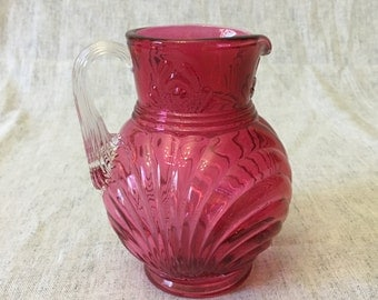 Vintage Fenton Art Glass 8 Ounce Country Cranberry Caprice Jug or Small Pitcher with Clear Reed Handle