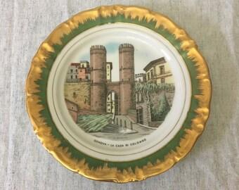 Vintage Winterling Schwarzenbach Bavarian China Decorator Plate Featuring La Casa Di Colombo Genova, Gold Trim Italy Souvenir Plate