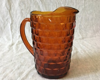 Indiana Colony Dark Amber Whitehall Water Pitcher, Whitehall Iced Tea Pitcher, Country Kitchen