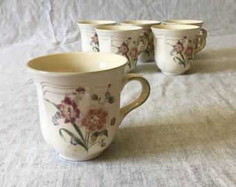 Vintage Mikasa Heritage Peony Bouquet Coffee Cups, Set of 6