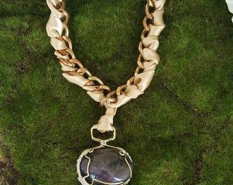 "Amethyst ""The Borrowed"" Ribbon Necklace"