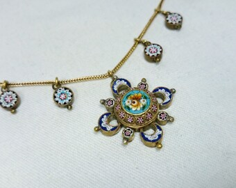 Antique Micro Mosaic Festoon Necklace, Italy, Redesigned 1800s Grand Tour Souvenir Jewelry