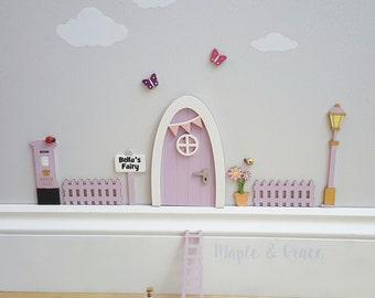 Fairy door kit with personalised signpost - lilac - fairy house - fairy accessories - tooth fairy- elf - indoor fairy door