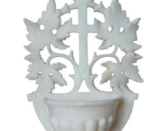 French Antique Large Hand Carved Alabaster Holy Water Font - Openwork White Wall Benitier - Catholic Religious Hanging