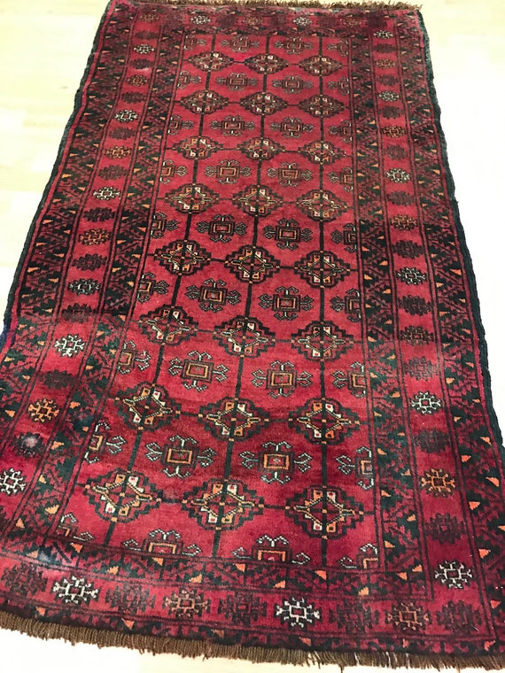 "2'8"" x 4'7"" Persian Balouch Oriental Rug - 1960s - Hand Made - 100% Wool"