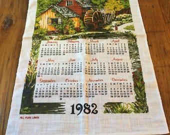 Vintage 1982 Calender Linen Tea Towel