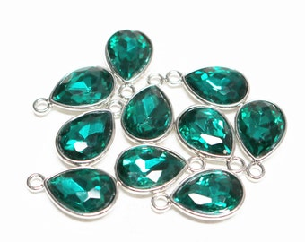 set of 2, May birthstone charm, green charm, faceted teardrop charm, glass charm, bright silver, 20mm x 12mm